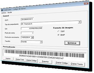 Pantalla del software Código de Barras